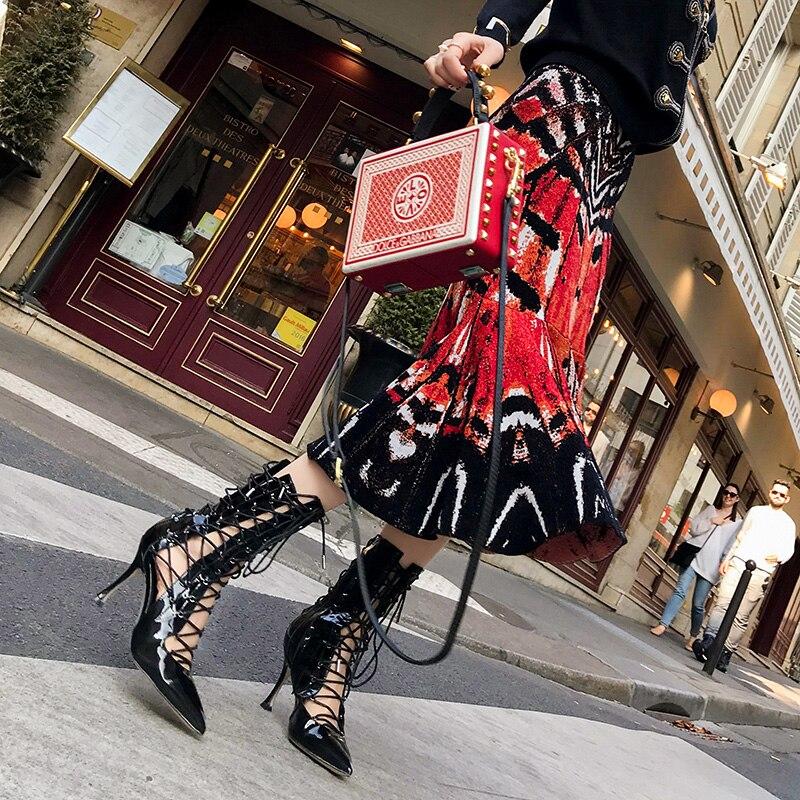 รันเวย์ Midi กระโปรง Fishtail กระโปรงผู้หญิงแฟชั่นบทคัดย่อรูปแบบผีเสื้อ Jacquard ถักกระโปรงเอวสูงกระโปรงดินสอ Mermaid-ใน กระโปรง จาก เสื้อผ้าสตรี บน   3