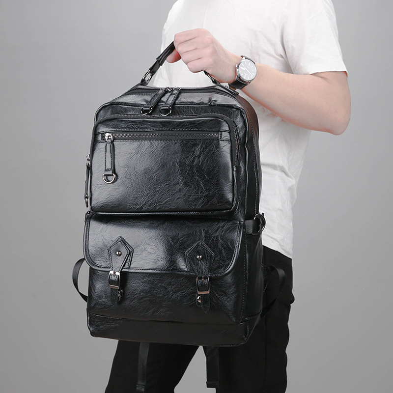 2018 New Men PU Leather Backpack High Quality Youth Travel Rucksack School Book Bag Male Laptop Business bagpack Shoulder Bags цена