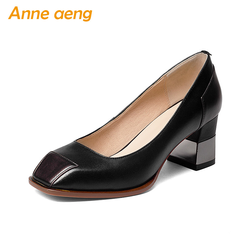 New Spring Autumn Genuine Leather Women Pumps High Square Heels Cow Leather Upper Square Toe Sexy