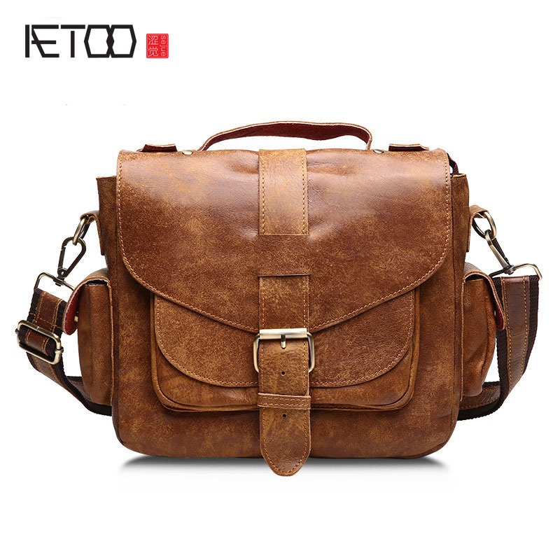 AETOO Casual tide leather men's first layer of leather men's portable shoulder Messenger bag qiaobao 2018 new korean version of the first layer of women s leather packet messenger bag female shoulder diagonal cross bag