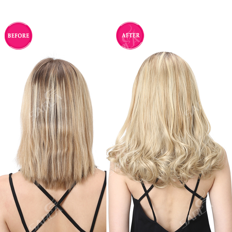 SARLA 16 Short Curl Blonde U Part Half Hair Wigs For Momen Synthetic Hair Extension Clip-in Hairpieces False Hair Piece UW05