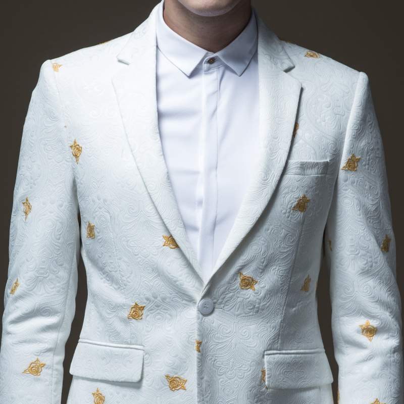 Free Shipping men's male man casual white Autumn new embroidered suit jacket B183206572 and trousers B183215573 set