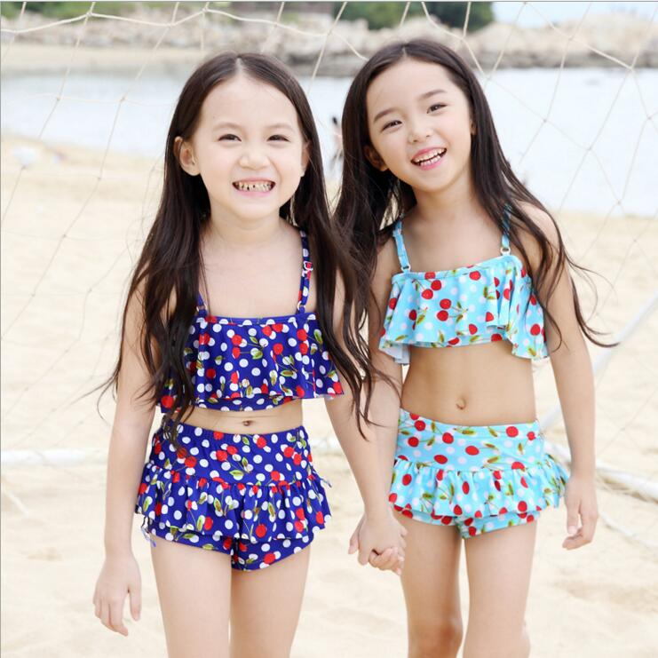 fb95aebc7c5d07 Pink Blue Cherry Print Baby Girls Swimsuit Yellow Bikini Set Child  Beachwear Swimwear Bathing Suit Frill Off Shoulder Bikini-in Children's  Two-Piece Suits ...