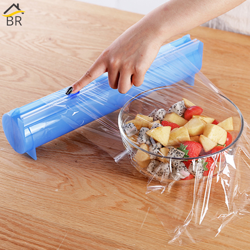 BR All Sizes Plastic Wrap Dispenser Aluminum Foil Holder Box For Cutting Film Food Wrap Cling Film Cutter Kitchen Film Organizer