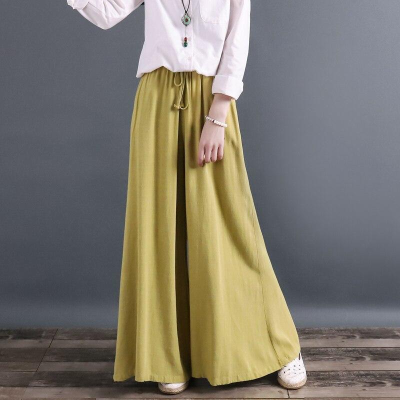 Loose Drawstring Solid Color Cotton and linen Wide leg pants Trousers Women Linen Casual pants Linen Pantalon Femme Trouser