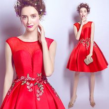 2016 New Fashion U-ausschnitt Kurze Abendkleider Sleeveless mit Stickerei Graduation Cocktail Party Kleider vestido de festa