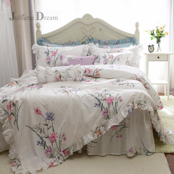 2019 New Pastoral bedding set Victoria garden design bedding bed set ruffle king bedding set cotton duvet cover set customized