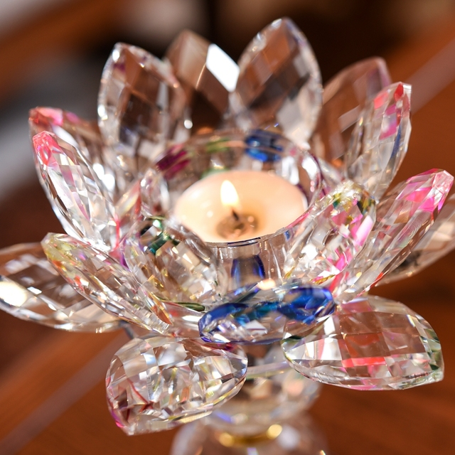 3 Style Crystal Glass Lotus Flower Candle Holder (8 Colors) 1