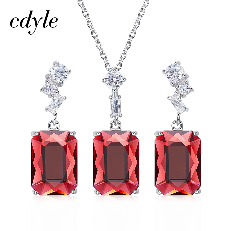 Cdyle Embellished with crystals from Swarovski 925 Silver Jewelry Poinsettia Necklace Pendant Earrings Bridal Wedding Party GiftCdyle Embellished with crystals from Swarovski 925 Silver Jewelry Poinsettia Necklace Pendant Earrings Bridal Wedding Party Gift