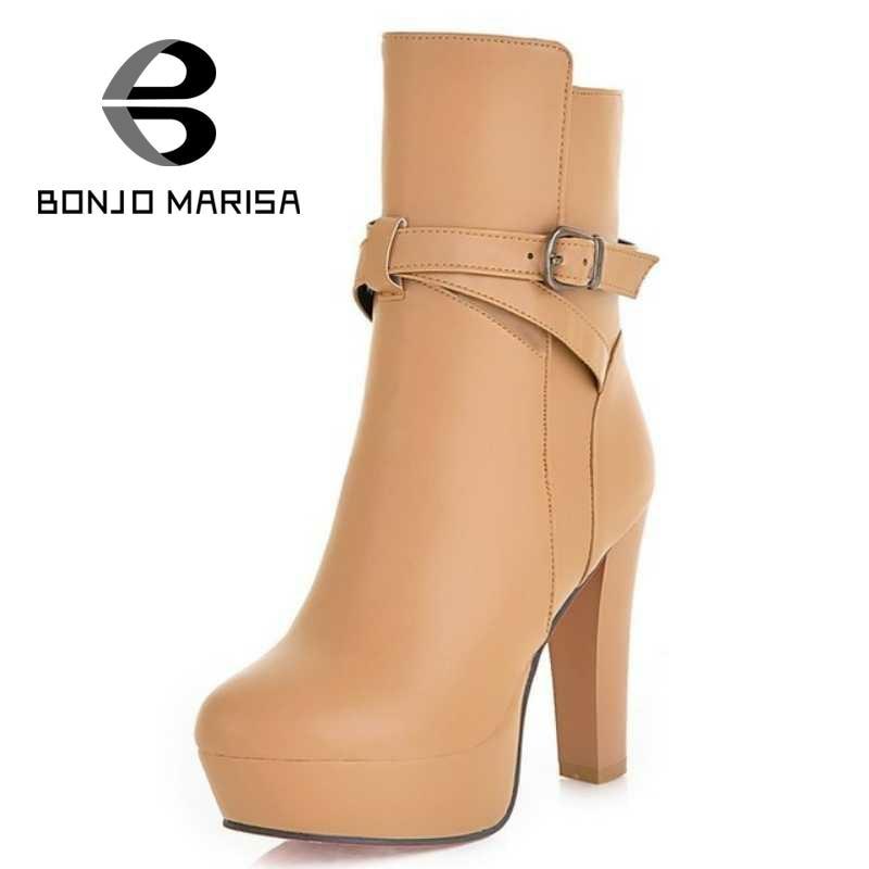 ФОТО BONJOMARISA Plus Size 32-43 Gladiator High Heels Belt Straps Womens Shoes Spring Autumn Winter Snow Platform Motorcycle Boots