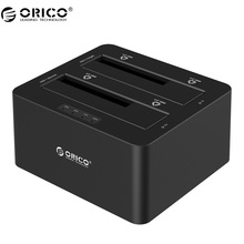 ORICO HDD Station 2 Bay SATA to USB3.0 External Hard Drive Docking Station for 2.5/3.5HDD with Duplicator/Clone Function-Black