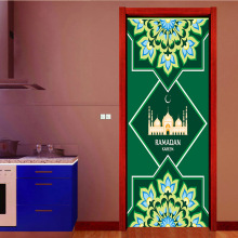 Green Muslim Islam Religious Style Wall Door Stickers  Pattern Living Room Home Decor Decal