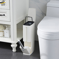 Multi function Bathroom Waste Bin Toilet Brush Integrated Sets With Flip Handle Liner Trash Can Home Bathroom Supplies