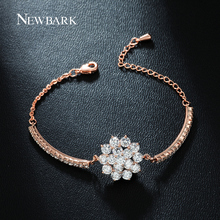 NEWBARK Lovely CZ Diamond Cluster Flower Design Bracelets For Women Rose Gold Plated Silver Color Charms Jewelry Christmas Gifts