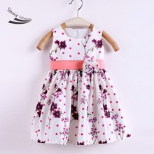 New Kids Girl's Wear Sweet Sleeveless Sundress Floral Brooch High Waist Casual Pleated Dress 1-7Y