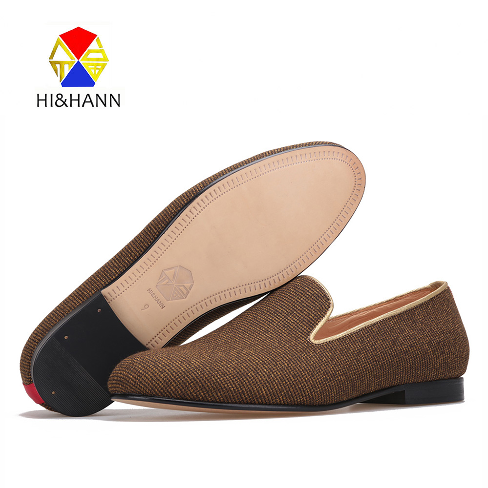 2017 SS New Arrivial HI&HANN Handcrafted Black & Brown Check Canvas Calf Leather Lining & Outsole Men's Loafer Luxury Collection футболка analog ag check the mic ss charcoal