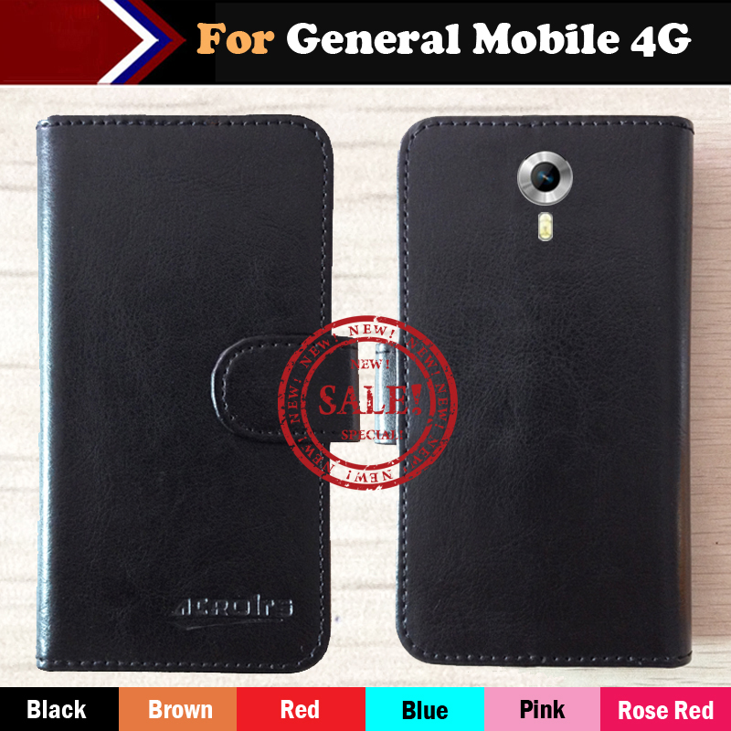 Hot!! General Mobile 4G Case Factory Price 6 Colors Dedicated Leather Exclusive For General Mobile 4G Phone Cover+Tracking