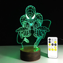 1Piece Creative Spiderman 3D Desk Lamp Amazing Spider-man Night Light Lampada de parede Xmas Gift Table Lamp Free Shipping