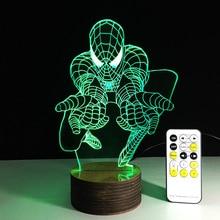 1Piece Creative Spiderman 3D Desk Lamp Amazing Spider man Night Light Lampada de parede Xmas Gift