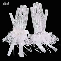 Glamorous Ivory Wedding Glove Tulle Lace Wedding Dresses Accessories Flower Lace Bride Mitten Short Bridal Gloves