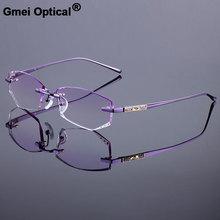 a8e6db7e1f Titanyum Alaşımlı Gözlük Çerçeve Orijinal Marka Kadınlar Çerçevesiz  Çerçeveleri Elmas Kırpma Kesim Gradient Tonu Ile Çerçevesiz .