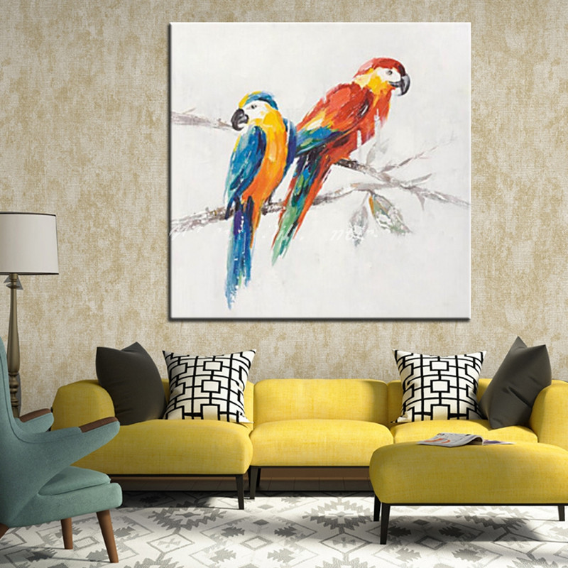 Handpainted Abstract Animal Oil Painting on Canvas Colorful Parrots Birds Acrylic Paintings Modern Home Decor Wall Art Picture