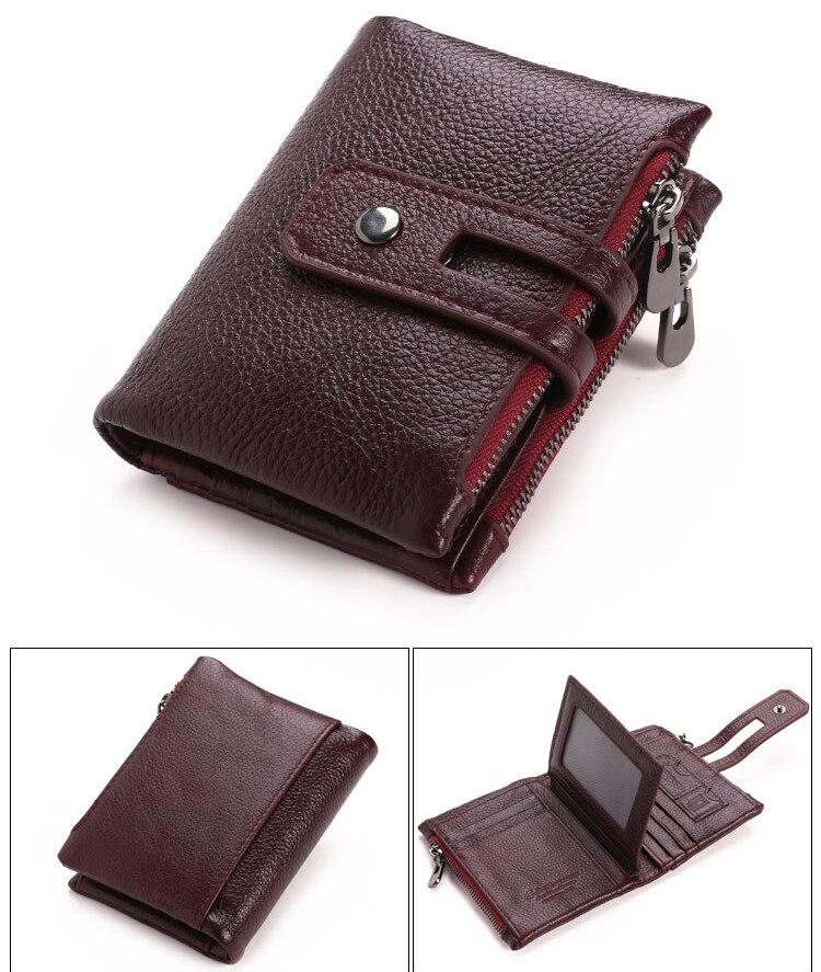 Artmi Mens Äkta Läder Bifold Kort Väska Plånbok Dubbla Zipper - Plånböcker - Foto 3