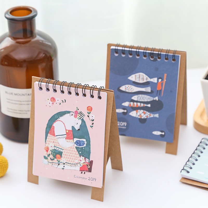 2019 2019 NEW Kawaii Cartoon Animals Calendar Creative Desk Vertical Paper Multi-function Storage Box Timetable Planner Notebook