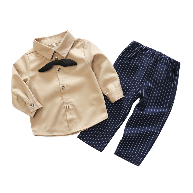 Summer Newborn Baby Boys Clothes Long Sleeve Bow Tie T-shirt+Pants 2pcs Baby Suit Infant Clothing Set 0-24M New Fashion Closing