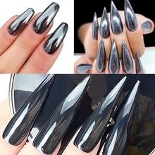 Urodzony królowa wyróżnij czarny proszek do paznokci dający lustrzany efekt błyszczy lśniące pigmenty do paznokci chrom pyłu Manicure zdobienie paznokci dekoracje