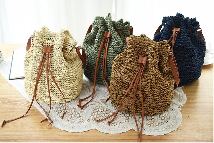 2018 Fashion Trending Drawstring Straw mini Beach Bag High Quality women Hollow Out Handmade Knitted cute small Backpack 4 Color2018 Fashion Trending Drawstring Straw mini Beach Bag High Quality women Hollow Out Handmade Knitted cute small Backpack 4 Color