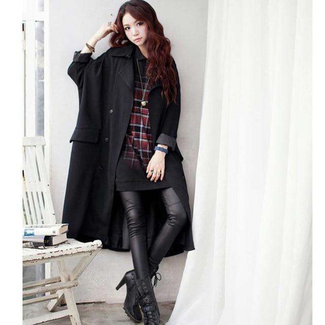 [Soonyour] 2017 Осень женщины пальто Литературный круг большой ярдов рукава летучая мышь свободно пальто нагрудные с длинным пальто повседневный стиль CS1101S