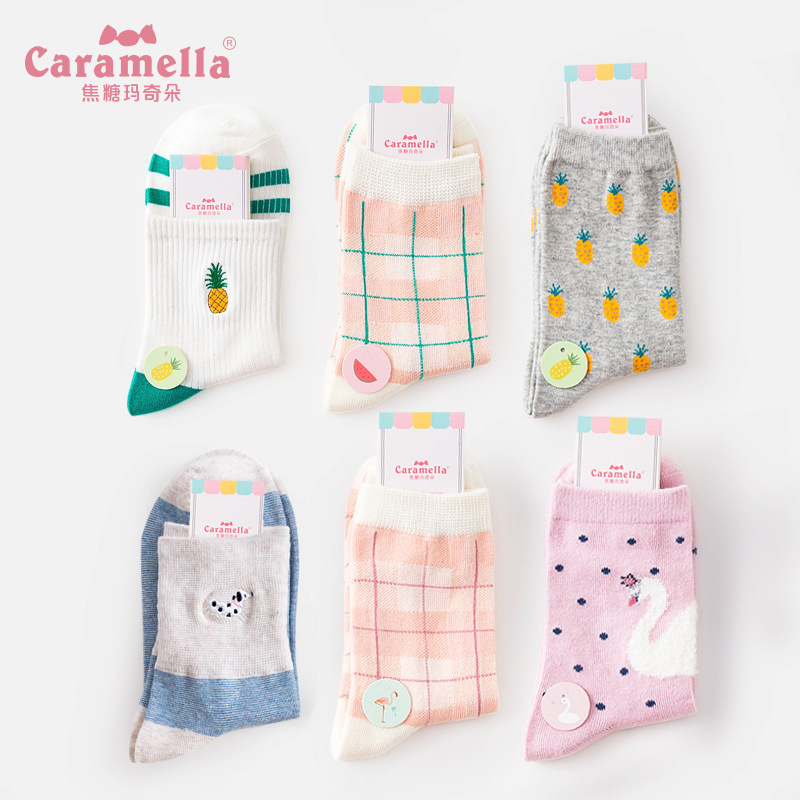 Caramella 2018 3pairs Jacquard Embroidery Flamingo Cotton Lovely Christmas Warm Cute Cartoon Socks Women Stretch College Style