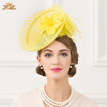 c718ade175f9c Yellow 100% Linen Feather Pillbox Hat Summer Fedora Fascinator Cap Women  Formal Wedding Dress Derby
