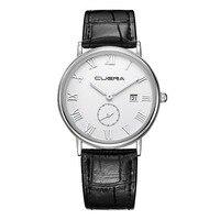 2017 Hot Sale On CUENA Fashion Men Casual Checkers Faux Leather Quartz Analog Wrist Watch Wholesale