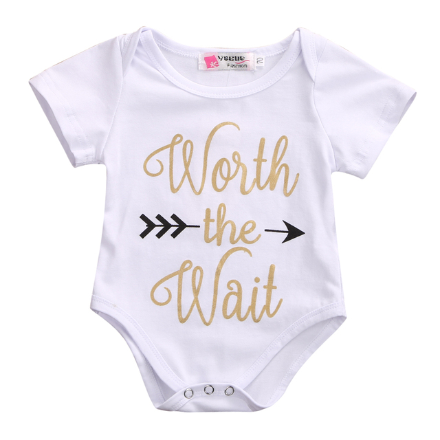 08fec54b78b9 2017 New Baby Bodysuit Newborn Baby Bodysuit Worth The wait Gold ...