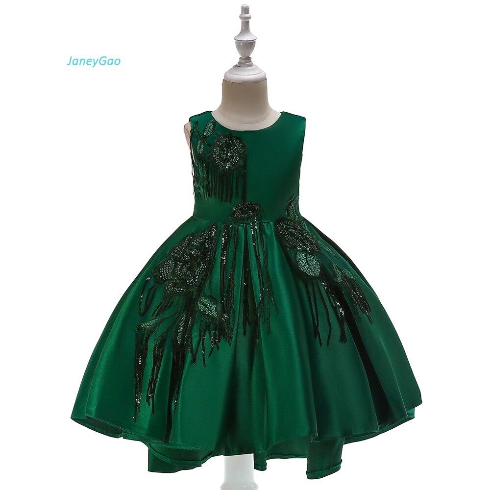 JaneyGao   Flower     Girl     Dresses   For Wedding Party Front Short Long Back Elegant Satin With Sequined   Girl   Formal   Dresses   2018 New