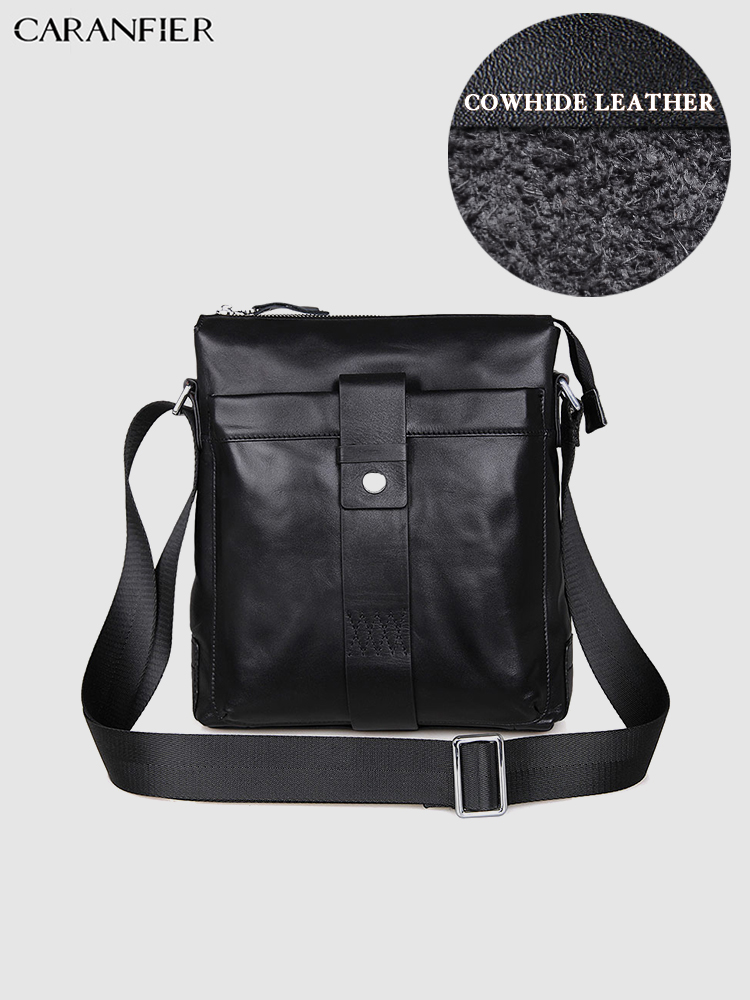 CARANFIER Mens Briefcase Genuine Cowhide Leather Travel Bags Large Capacity Computer Business Fashion High Quality Handbag