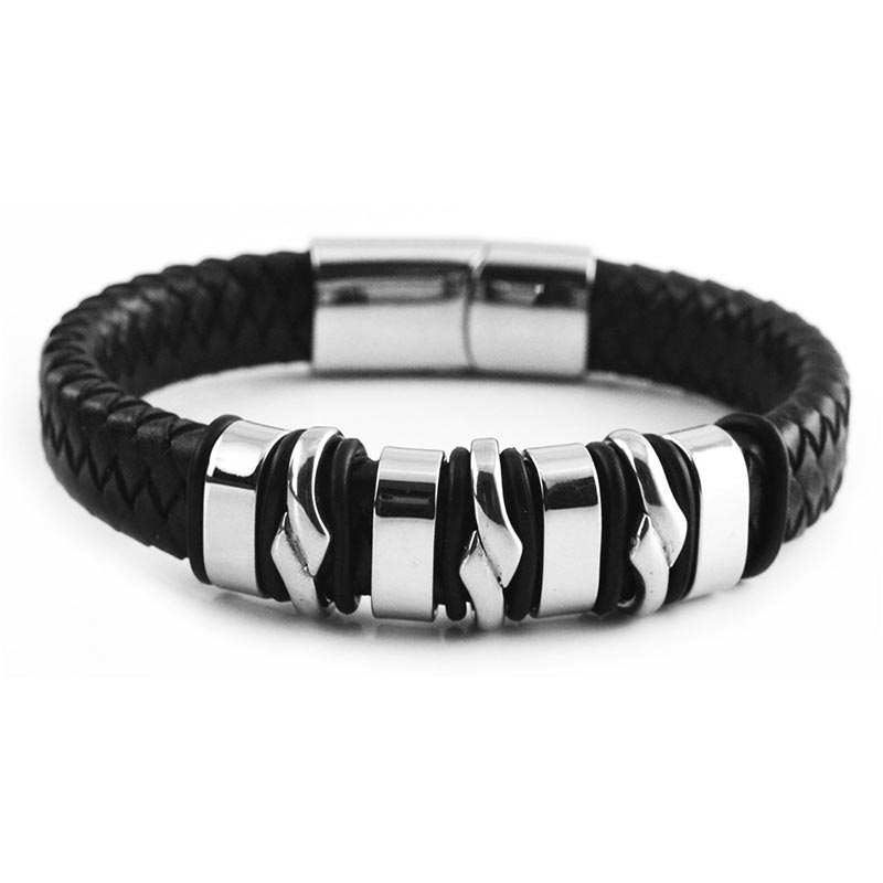 Handmade Genuine Leather Weaved Double Layer Man Women Bracelets Casual Sporty Bicycle Motorcycle Delicate Cool Men