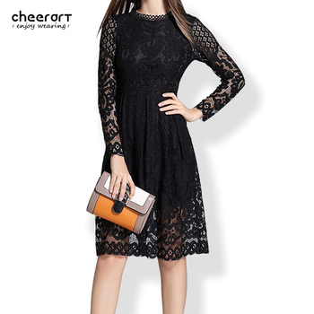 cheerart High Quality Women Bohemian White Lace Autumn Crochet Casual Long Sleeve Plus Size Pink/White/Black/Red Dress Clothing 1