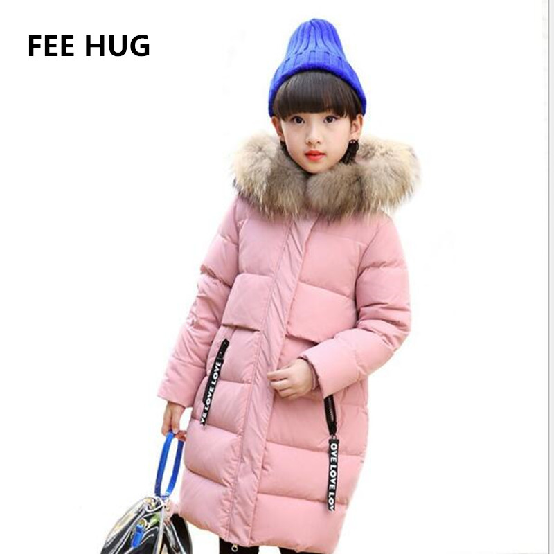 FEE HUG Children Winter Long Down Coats Big Fur Collar Girls Duck Down Jackets Children Outerwear with real fur 5-13 T girls buenos ninos thick winter children jackets girls boys coats hooded raccoon fur collar kids outerwear duck down padded snowsuit