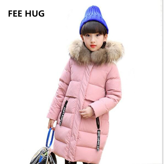 0eeb548fb FEE HUG Children Winter Long Down Coats Big Fur Collar Girls Duck Down  Jackets Children Outerwear with real fur 5 13 T girls -in Down   Parkas  from ...