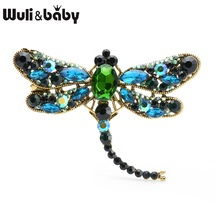 Wuli&baby Big Green Crystal Dragonfly Brooches Women Men Alloy Insects Brooch Pins Gifts