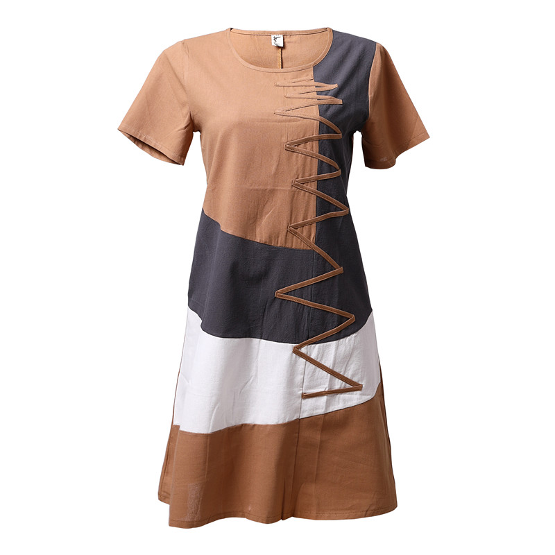 HTB1C9ahUCzqK1RjSZFHq6z3CpXah Summer Dress Women Beach Dress Short sleeve O neck Patchwork A Line casual Cotton Linen dress vestidos Plus size lady Clothing