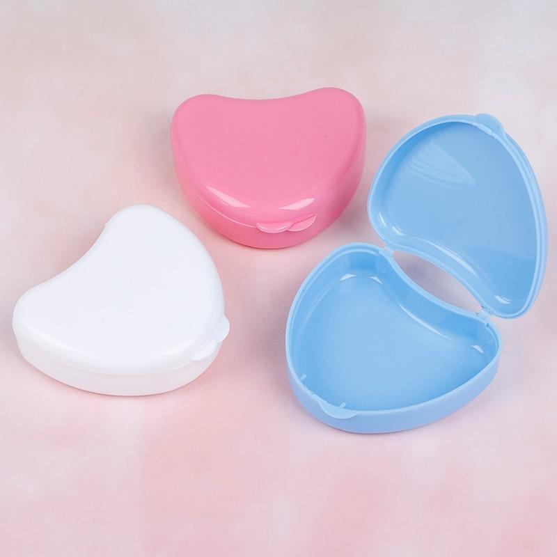 Dental Orthodontic Retainer Box Case For Denture Teeth Mouth Guard Storage Heart Shape False Teeth Box Storage Case