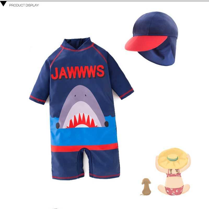 Bayi Laki-laki Fashion Hiu Kartun 2019 Baju Renang 2-6 T Cepat Dring Wetsuit Siam Gaya Baru Tabir Surya Anak-anak Selancar anak Laki-laki Pakaian Renang