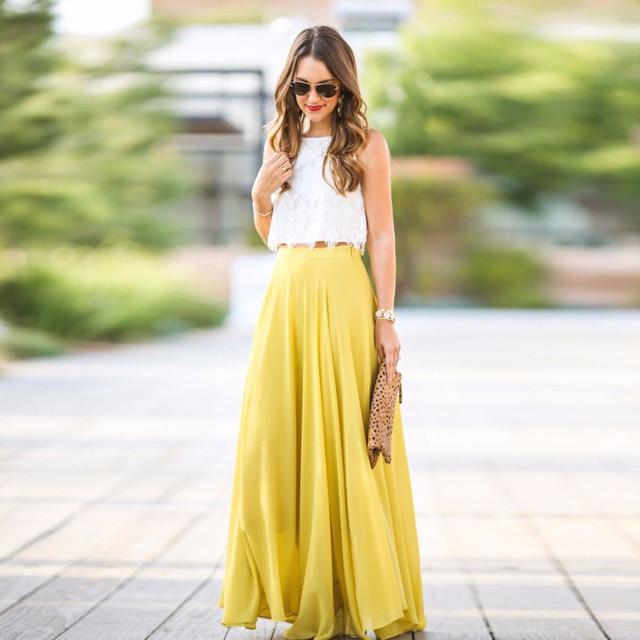 Spring Summer Style Beach Long Skirts Womens Floor Length Zipper Waist Chiffon  Maxi Skirt A Line Yellow Female Skirt for Party 83b202e21c95