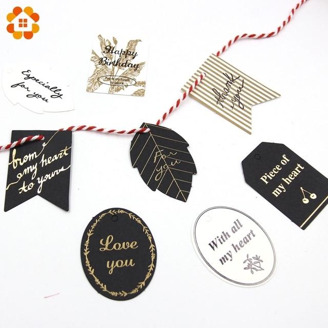 23d28cda3 40 unids oro blanco y negro papel etiquetas multi formas etiqueta de  equipaje para la boda
