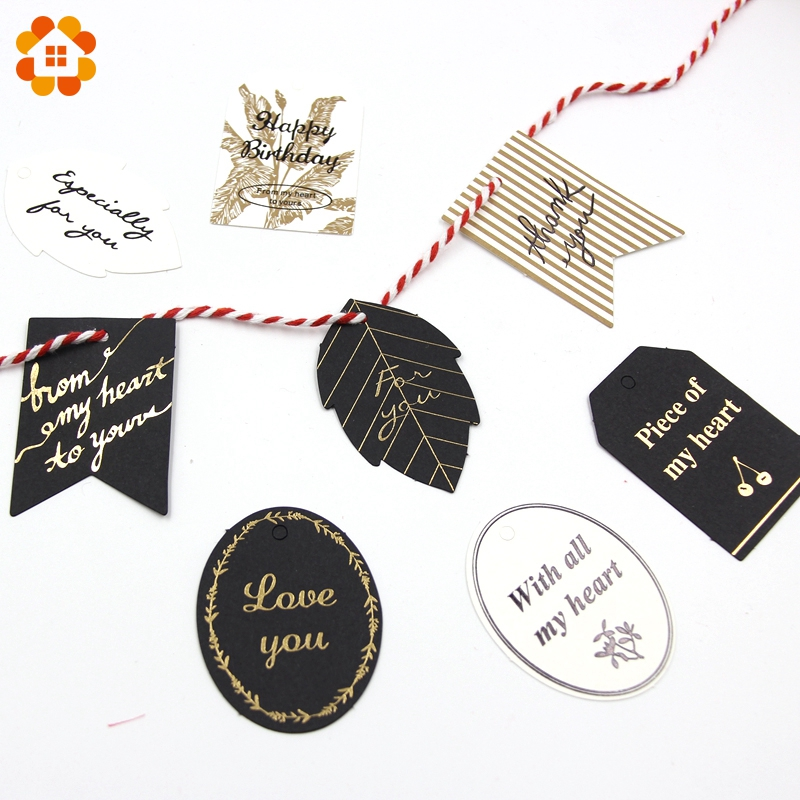40PCS Black And White Gold Foil Paper Tags Multi Shapes Label Luggage For Wedding Note Hang Tag Kraft DIY Gift Wrapping Supplies