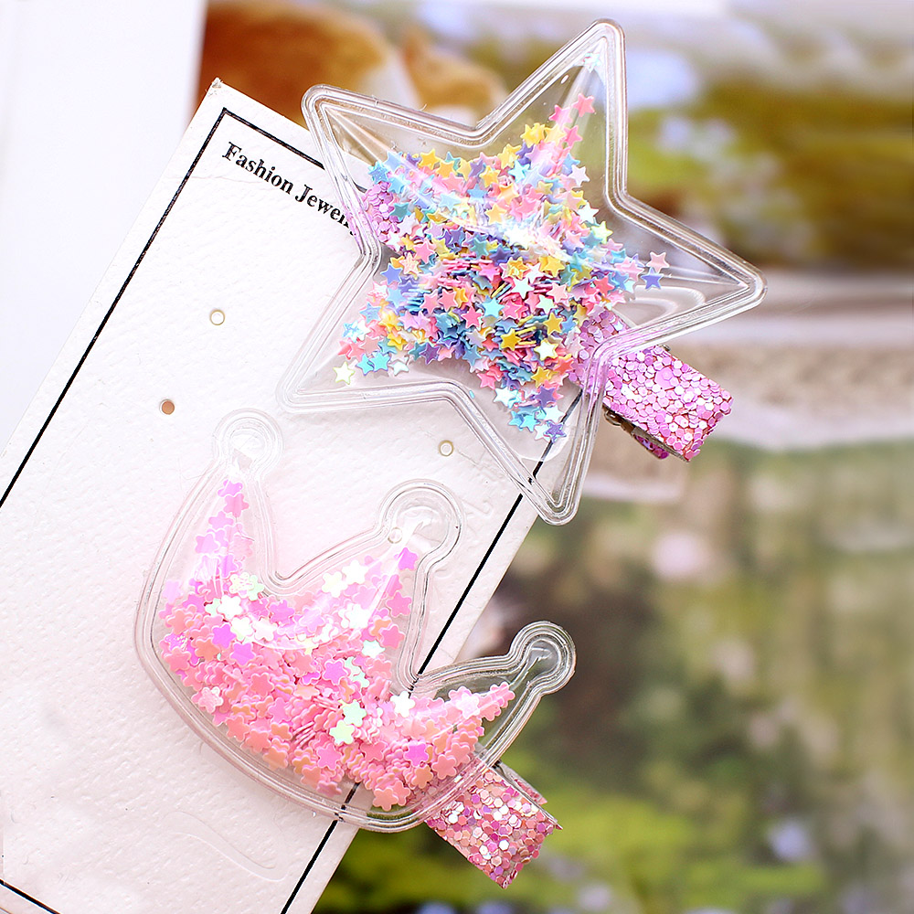 2019 New Transparent PU With Colorful Sequin Star Kids Hair Clips BB Stars Lovely Crown Hairpin Girls Handmade Hair Accessories